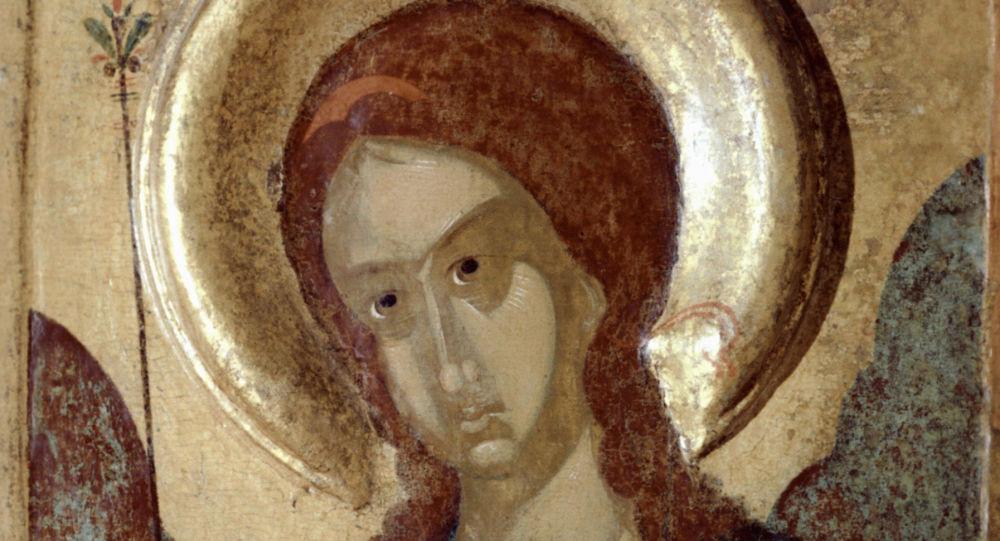Репродукция иконы Архангел Гавриил работы неизвестного художника из собраний Государственного Русского музея.