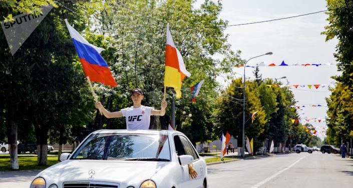 Автопробег в честь дня признания независимости Южной Осетии Российской Федерацией