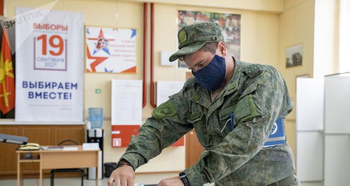 Досрочное голосование на 4-й российской военной базе