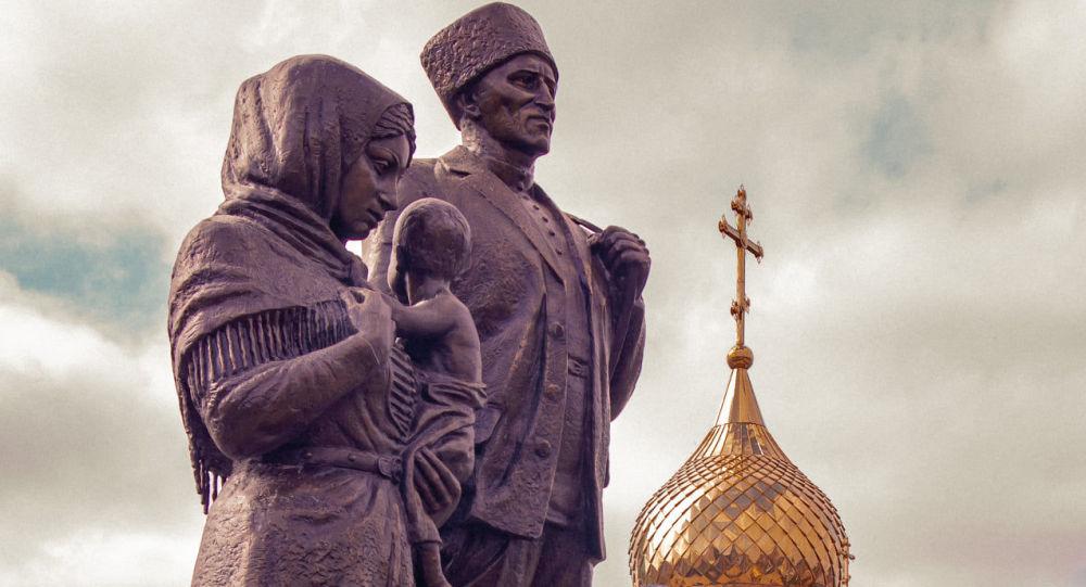 Памятник переселенцам из Южной Осетии в селе Ногир