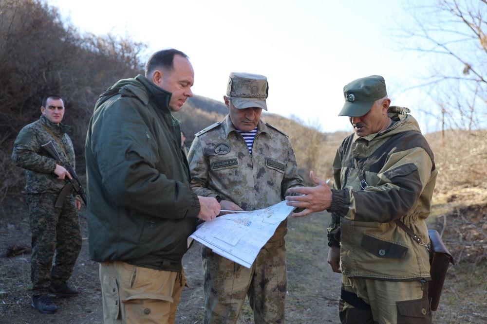 Президент Анатолий Бибилов на пограничном посту в районе Уиста