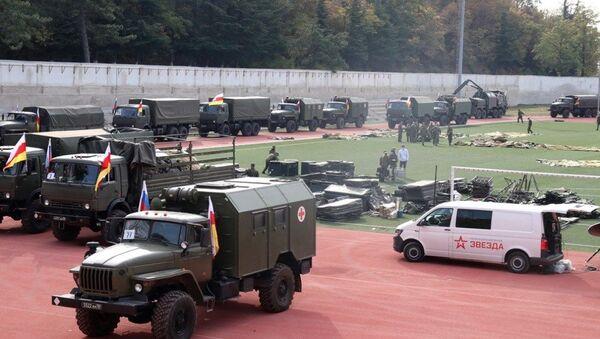 Военный госпиталь Минобороны РФ на стадионе в Цхинвале - Sputnik Южная Осетия