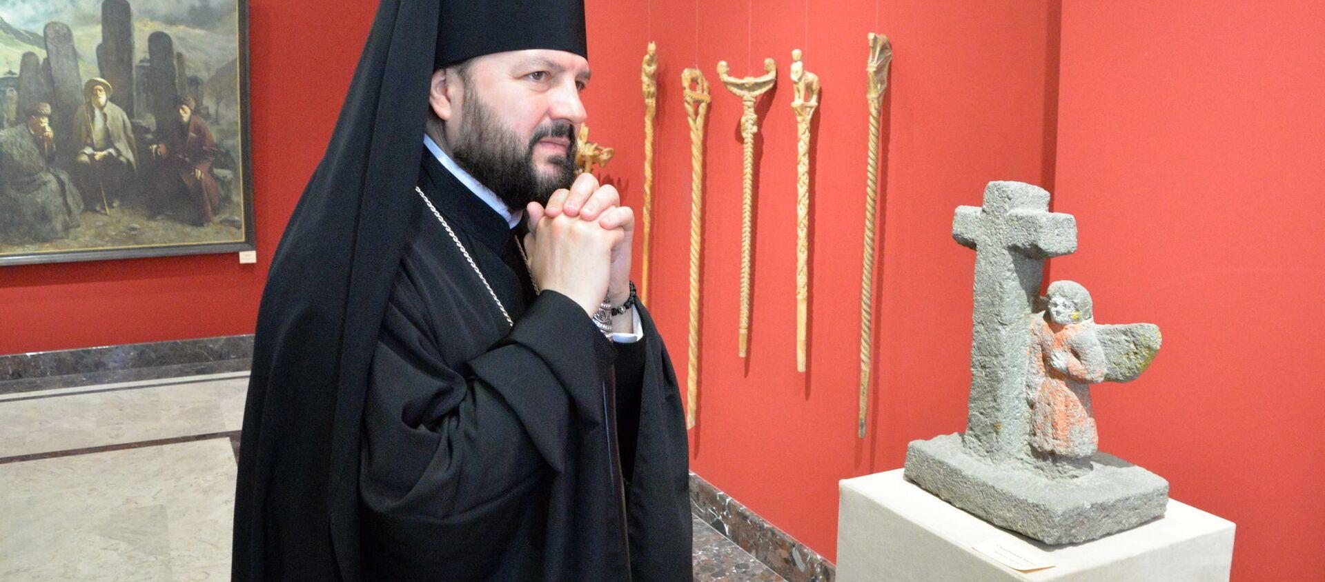 Архиепископ Владикавказский и Аланский Леонид посетил художественный музей имени Махарбека Туганова - Sputnik Южная Осетия, 1920, 28.01.2021