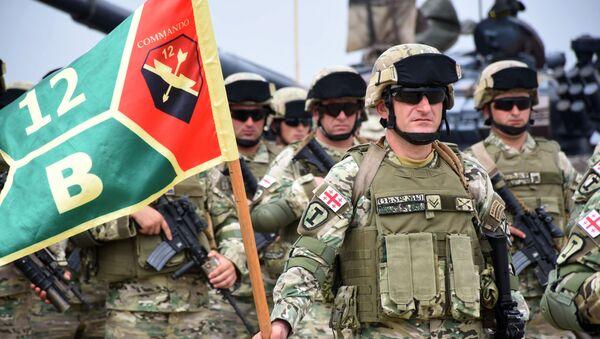 Грузинские военнослужащие на открытии международных военных учений. Архивное фото - Sputnik Южная Осетия