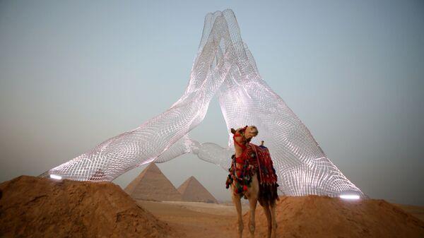 Верблюд у инсталляции итальянского художника Lorenzo Quinn на выставке Forever Is Now у пирамид Гизы в Египте - Sputnik Южная Осетия
